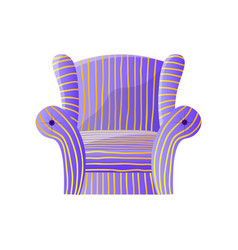soft purple striped lounge armchair isolated on vector image