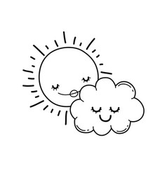 Sun and clouds cartoons in black and white vector