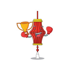 Super cool boxing winner chinese paper lanterns in vector