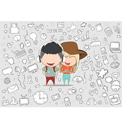 Teenage girl and boy wearing hat playing vector