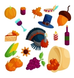 Thanksgiving icons set cartoon style vector image