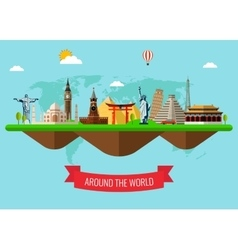 Travel and Tourism Background with Famous World vector