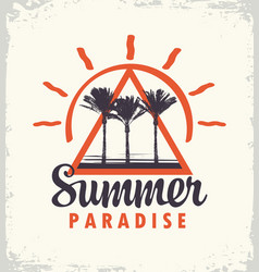 Travel banner with palm trees summer paradise vector