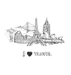 travel sketch poster vector image