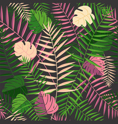 Tropical summer palm leaves retro background vector
