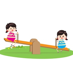 Two girl playing riding on seesaw vector