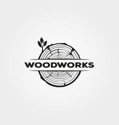 Vintage wood icon logo symbol design vector