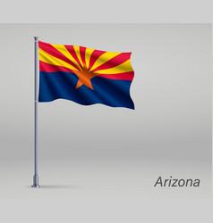 Waving flag arizona - state united states vector