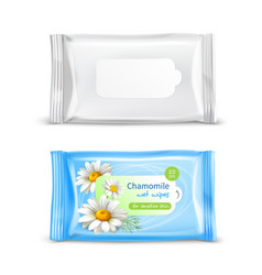 Wet wipes package realistic set vector