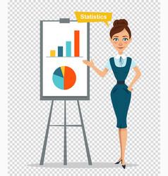 Woman character standing near flipchartstatictics vector