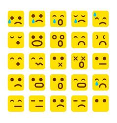 yellow set of smile icons emoji emoticons face sad vector image
