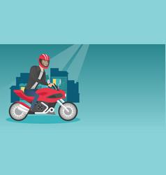 young caucasian man riding a motorcycle at night vector image