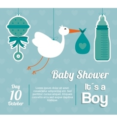 Baby Shower design maraca stork and bottle icon vector image