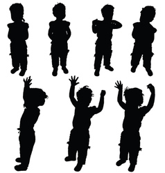 Child little in various pose silhouette vector
