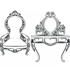 Dressing table and armchair set vector image vector image