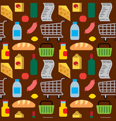 food and drinks seamless pattern vector image
