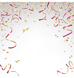 Gold Confetti and Festive red Ribbons vector image vector image