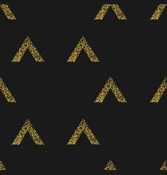 gold geometric triangle on black background vector image vector image