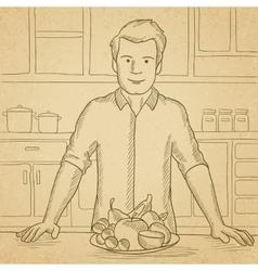 Man with healthy food vector image