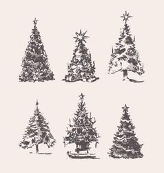 set drawn christmas trees vintage sketch vector image