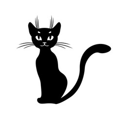 silhouette of black cat sitting vector image