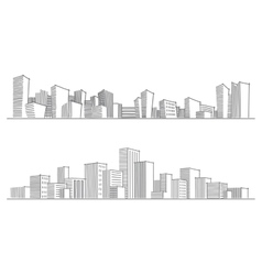Sketches of city silhouettes vector image vector image