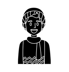boy with winter clothes vector image