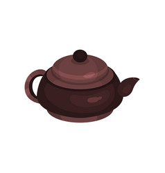 brown ceramic teapot tea ceremony element cartoon vector image