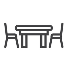 dining table line icon furniture and interior vector image vector image
