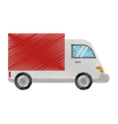 drawing truck delivery transport image vector image