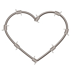 Heart shape of barbed wire vector image