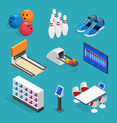 isometric bowling realistic icons set with game vector image vector image