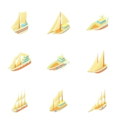 Maritime transport icons set cartoon style vector image vector image