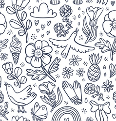 Summertime black floral seamless pattern vector image vector image
