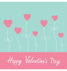 Heart flowers Blue and pink Valentines Day vector image vector image