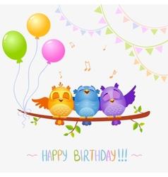 Birds sing birthday vector image vector image