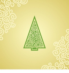 christmas postcard with green christmas tree vector image vector image