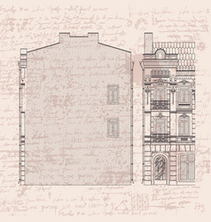 drawing three-storey house in baroque style vector image