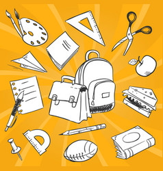 necessary students things - hand drawn stationery vector image vector image