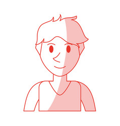red shading silhouette cartoon front view half vector image vector image