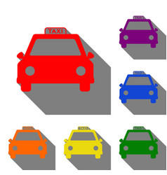 taxi sign set of red orange yellow vector image