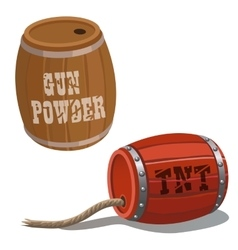 Wooden barrels with dynamite and wick vector image vector image