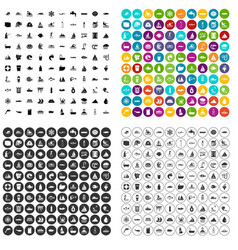 100 aquaculture icons set variant vector
