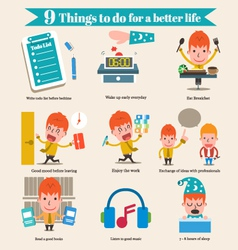 9 Things to do for a better life cartoon business vector image