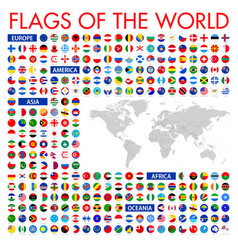 all official national flags world circular vector image