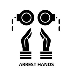 Arrest hands icon black sign with editable vector