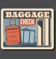 baggage on conveyor belt airport metal detector vector image