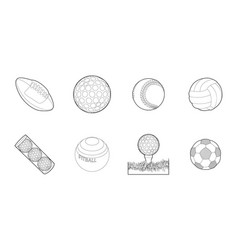 Balls icon set outline style vector