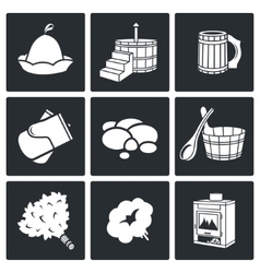 Bath and sauna Accessories Icons Set vector image