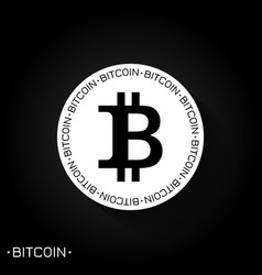 bitcoin logo icon black and white vector image